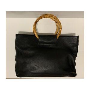 Talbots black leather handbag with bamboo handles